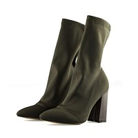 Women's Boots Pointed Toe Yarn Elastic Ankle Boots Thick Heel High Heels Shoes Socks Boots