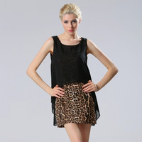 Hotsale New Stylish Women Fashion Sleeveless O-Neck Leopard Loose Two-Piece Set Dress