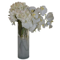 Hand Painted Tall Round Frosted Filigree Vase