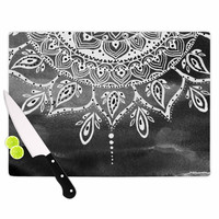 "Li Zamperini ""Black & White Mandala"" Gray Abstract Cutting Board"