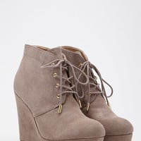 Lace-Up Wedge Booties