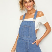Bleach Wash Pocket Front Denim Overalls