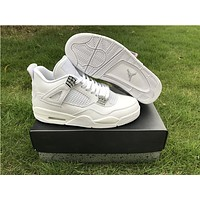 Air Jordan Retro 4 Pure Money Basketball Shoes Men 4s Pure Money White And Silver Athletics Sneakers With Shoes Box