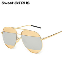 2016 Fashion Mirror Metal Frame Luxury Sunglasses Women Men Brand Design Vintage Sun Glasses Ladies Male Classic Eyewear Shades