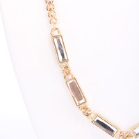 Gold Chain Link Faceted Beaded Trim High Polish Metal Necklace