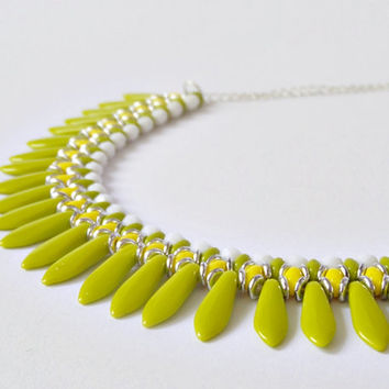 Lime green necklace, summer necklace, bib necklace, statement necklace, dagger necklace, beadwork necklace, fashion jewelry
