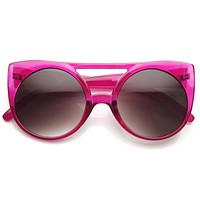 Retro Oversize Round Transparent Colorful Sunglasses 8933