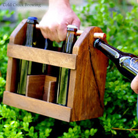 Beer Caddy - Home Brew Six Pack Carrier - Beer Bottle Carrier - Bottle Opener -Gift for Dad - Men - Groomsmen- Best Man Gift