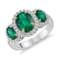 Three Stone Emerald and Diamond Halo Ring in 18k White and Yellow Gold (2.95 ct. tw.)   Blue Nile
