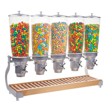 Five Cylinder Tabletop Candy Dispenser: 1.4 Gallon