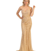 Nude Sweetheart Sequin Trumpet Dress 2015 Prom Dresses
