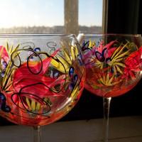 Next Day Shipping 2 TROPICAL PARADISE Handpainted Wine Glasses