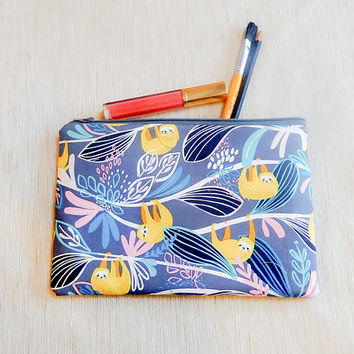 Sloth Gift for Her/ Make Up Bag/ BFF Gift/ Bridesmaids Gift/ Coworker Gift/ Gift for Mom/ Gift for Wife/ Pencil Case/ Valentine Day Gift