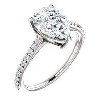 2.0 Ct Pear Ring For Gemstone 14k White Gold