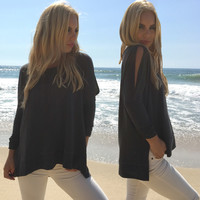 On Cloud Nine Open Shoulder Sweater In Charcoal