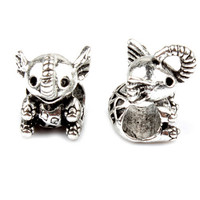 5 pcs Women Men Jewelry Cute Animals Elephant Pendent Charms Bead Fit for Bracelet Bangles Necklace