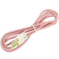 Rope Braided Aux Auxiliary Cable Cord 3.5mm - 3FT Pink for HTC Desire EYE