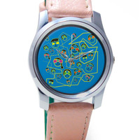 Geeky Faces pattern illustration Wrist Watch