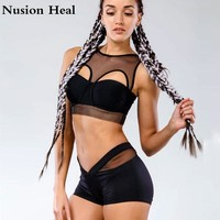 Women Sexy Yoga Shorts+Yoga Sports Bra Compression Patchwork Running Short Gym Sport Shorts For Workout Athletic Fitness Legging