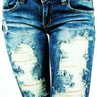 Machine Jeans Destroyed Ripped Distressed Womens Stone Washed Skinny Slim