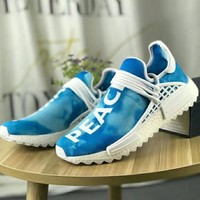 """""""Adidas"""" NMD Human Race Women And Men Casual  Fashion Trending Running Sports Letter Print Shoes Sneakers Contrast Color Blue"""