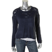 Hinge Womens Knit Sheer Pullover Top