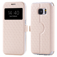Window View Flip Case For Samsung Galaxy S7 / S7 Edge Grid Pattern PU Leather Stand Card Slot 360 Degree Full Cover Wallet Bags