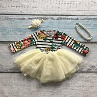 striped floral party bow dress girls party dress milk silk with matching necklace bow