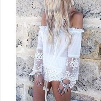 Chiffon Lace strapless Shirt Top Tee