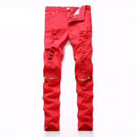 New Hole Ripped Mens Hip Hop Elasticity Pencil Skinny Jeans
