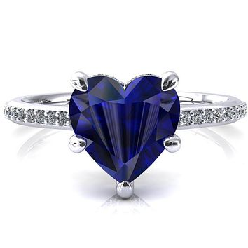 Kiki Heart Blue Sapphire 5 Prongs Claw Floating Halo 1/2 Pinpoint Inverted Cathedral Ring
