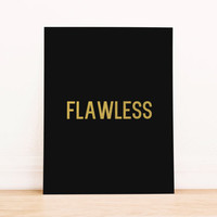 """Printable Art Gold Foil Art Print  Beyonce Quote""""'Flawless"""" Home Decor Office Decor Poster"""