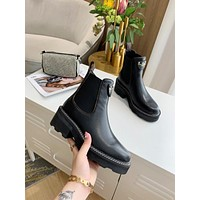 lv louis vuitton trending womens black leather side zip lace up ankle boots shoes high boots 228