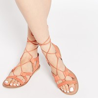 ASOS FOR LOVE Tie Up Leather Sandals