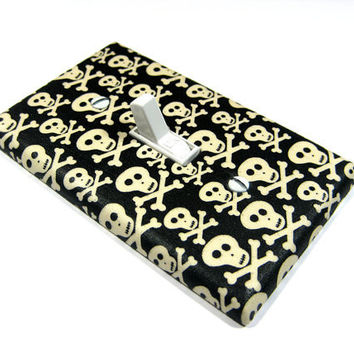 Black and White Skull Bedroom Decor Light Switch by ModernSwitch