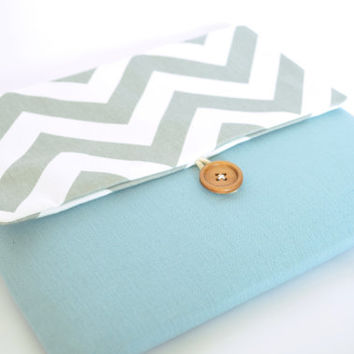 Gray Chevron Laptop Case with Pocket, Laptop Sleeve for 13 inch MacBook Pro, MacBook Air, Custom Bag Clutch