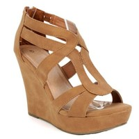 Strappy Open Toe Platform Wedge,Lindy-03 Tan 7