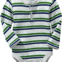 Waffle-Knit Henley Bodysuits for Baby