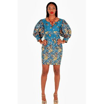 Yolo African Dress With Gray And Silver Print