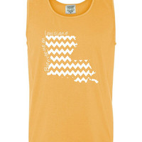 Custom Louisiana Chevron Comfort Color Tank Top.  Show Your state pride and state love. Perfect for the Summer and the Beach