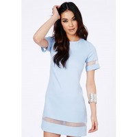 Missguided - Soledad Mesh Panel Shift Dress In Baby Blue