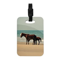 "Robin Dickinson ""Sandy Toes"" Beach Horses Decorative Luggage Tag"