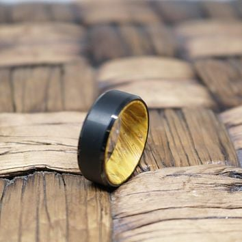 AIRBENDER Men's Tungsten Yellow Box Elder Wood Interior Ring with Beveled Edges Brushed Finish - 8MM