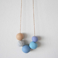 """Soft colors beads necklace - round beads polymer clay- pastel color """" Round and round"""""""