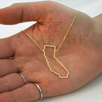 California necklace, USA state necklace, any state outline silver necklace, silver country outline necklace wire state necklace,