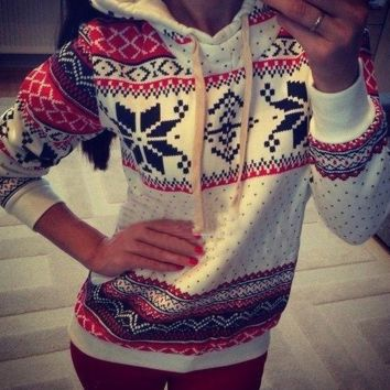 New Womens Christmas Snowflake Sweater Pullovers
