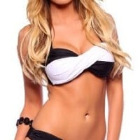 Womens Casual Fitted Color Block Wrap Bandeau Low Rise Two Piece Bikini Swimsuit