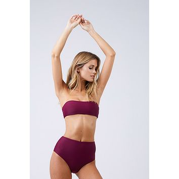 Bound High Waisted Bikini Bottom - Fig Purple