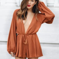 Lioness Free Love Playsuit Rust