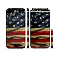 The Dark Wrinkled American Flag Sectioned Skin Series for the Apple iPhone6s Plus